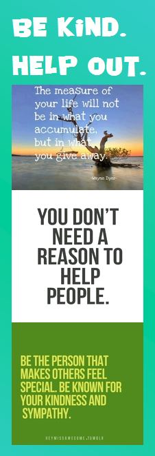 Motivational Bookmark: Be Kind, Help Out | Infographic A Day