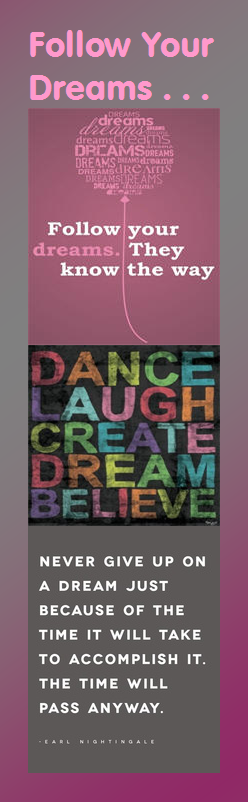 Motivational Bookmark: Follow Your Dreams | Infographic A Day